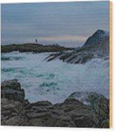 Storm At The Norwegian Coastline Wood Print