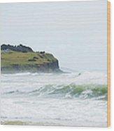 Storm Swell Waves On A Beach Wood Print