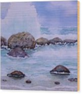 Stormy Shore On Nisyros Greece Wood Print