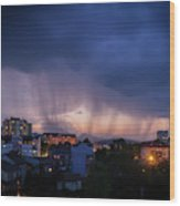 Stormy Weather Over The Small Town Wood Print
