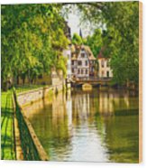 Strasbourg, Water Canal In Petite Wood Print