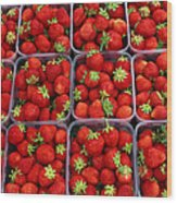 Strawberries For Sale, Bergen, Norway Wood Print
