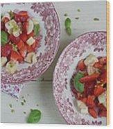 Strawberry-banana Salad With Basil Wood Print