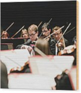 String Section In Orchestra Wood Print