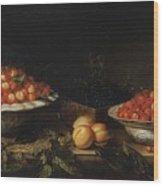 Studio Of Francois Garnier Paris 1600 - 1672 Still Life With A Bowl Of Cherries Wood Print