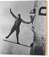 Stunt Flier Suspended Over Cockpit Wood Print