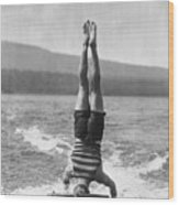 Stunt Man Performing Aquaplane Feat Wood Print
