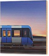 Subway Train In Profile Crossing Bridge Wood Print