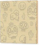 Sugar Skulls Sand Seamless Vector Wood Print