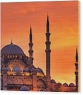 Suleymaniye Mosque At Sunset Wood Print