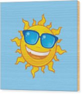 Summer Sun Wearing Sunglasses Wood Print
