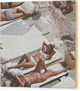 Sunbathers At Eden Roc Wood Print