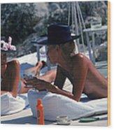 Sunbathing In Antibes Wood Print