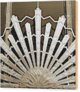 Sunburst Art Deco Sepia Wood Print