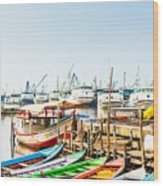 Sunda Kelapa Old Harbour  With Fishing Wood Print