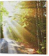 Sunflare On Road Wood Print