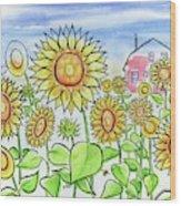 Sunflower Gods Wood Print