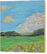 sunflower valley- Sunflower Art-Impressionism painting Wood Print