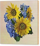 Sunflowers And Hydrangeas Wood Print