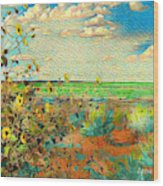 Sunflowers On The Edge Wood Print