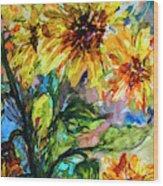 Sunflowers Summer Flowers Mixed Media Wood Print