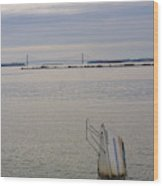 Sunken Sailboat In The Bay Wood Print