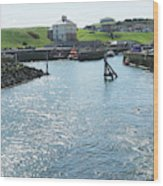 sunlight glistening on water at Eyemouth harbour Wood Print