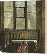 sunlight on linen fold altar in Trinity church York Wood Print