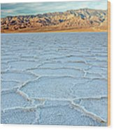 Sunrise At Badwater, Death Valley Wood Print