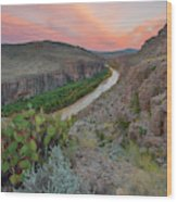 Sunrise In Big Bend Along The Hot Springs Trail 1 Wood Print