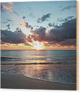 Sunrise In Miami Wood Print