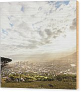 Sunrise Over Cape Town South Africa Wood Print