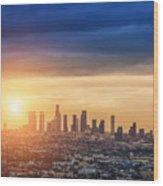 Sunrise Over Los Angeles City Skyline Wood Print