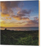 Sunrise Over The Bay At Pigeon Point Lighthouse Wood Print