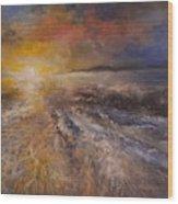 Sunrise Over The Ocean Wood Print