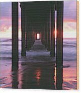 Sunrise Over The Pacific Ocean Seen Wood Print