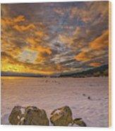 Sunrise Rocks Wood Print