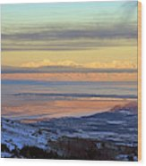 Sunrise View Across Cook Inlet From Above Anchorage Alaska Wood Print