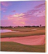 Sunrise View Of A Resort On A Golf Wood Print