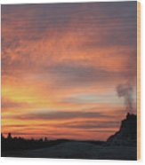 Sunset 0ver White Dome Geyser Wood Print