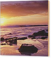 Sunset At Laguna Beach Wood Print