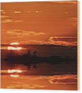 Sunset Behind Clouds Two Wood Print