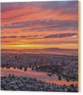 Sunset Explosion Over Lake Merritt Wood Print