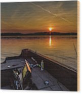 Sunset Fishing Dog Lake Wood Print