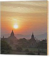Sunset From Atop The Shwesandaw Paya Wood Print
