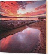 Sunset Harmony At Kiva Beach Wood Print