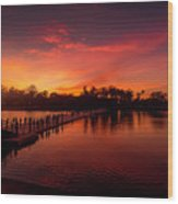 Sunset In Angkor Wood Print