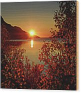 Sunset In Ersfjordbotn Wood Print