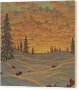 Sunset In Finland  Wood Print