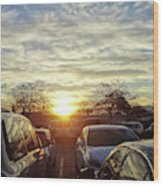 Sunset In Parking Lot 2 Wood Print